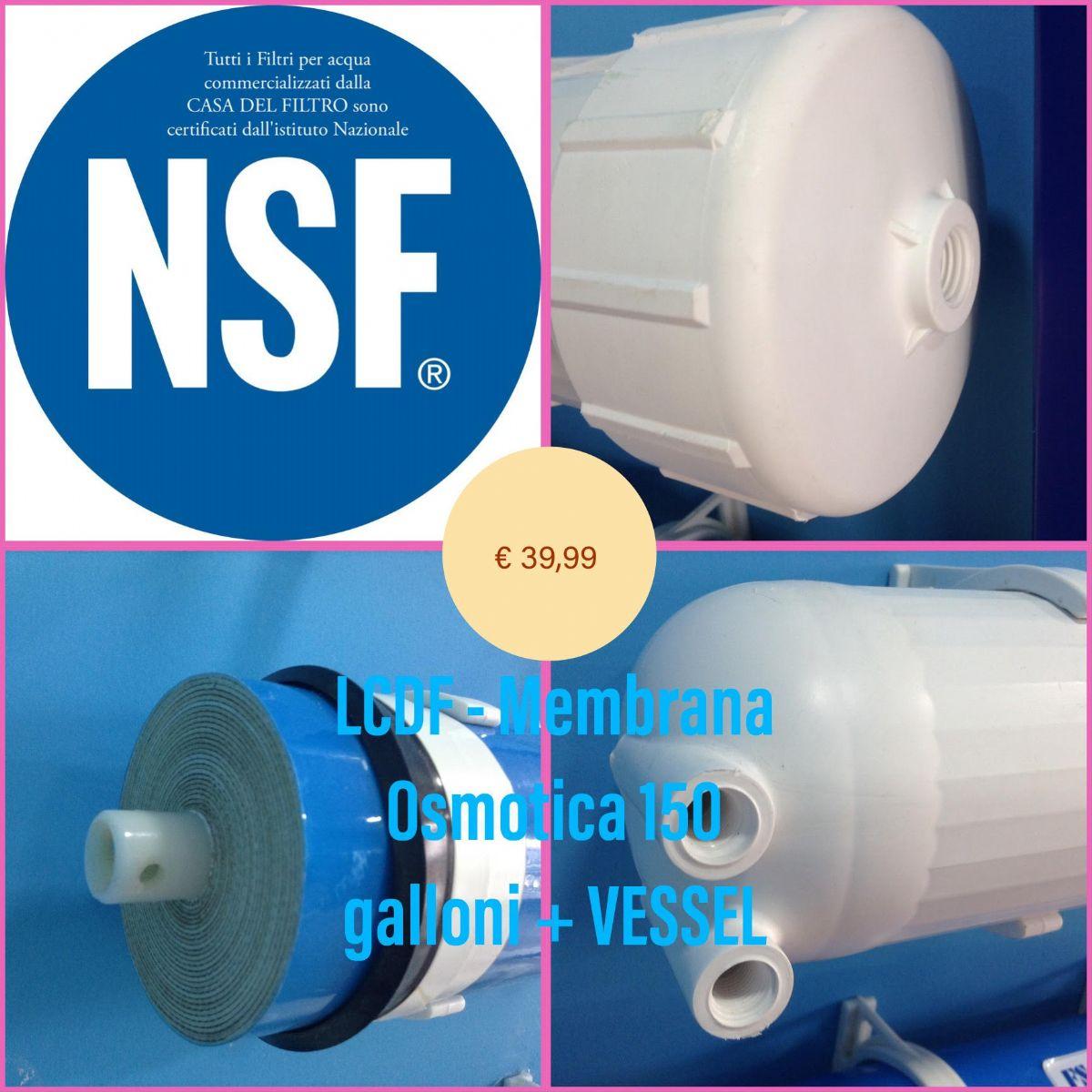 Contenitore Vessel per Membrana Osmosi Inversa da 50 a 150 GPD Depuratore Acqua